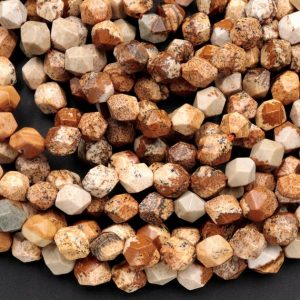 "Shop Picture Jasper Chip & Nugget Beads! Star Cut Natural Picture Jasper Desert Jasper African Queen Faceted 8mm 10mm Rounded Nugget Sharp Facets 15"" Strand 