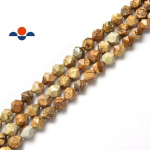 "Shop Picture Jasper Faceted Beads! Picture Jasper Faceted Star Cut Beads 8mm 15.5"" Strand 