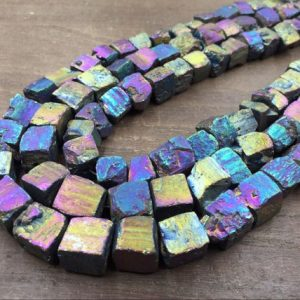 "Raw Pyrite Cube Nuggets Titanium Rainbow Iron Pyrite Nugget Cube Beads 10-12mm Rough Stone beads Natural Gemstone 15.5"" full strand 