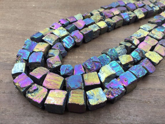 "Raw Pyrite Cube Nuggets Titanium Rainbow Iron Pyrite Nugget Cube Beads 10-12mm Rough Stone Beads Natural Gemstone 15.5"" Full Strand"