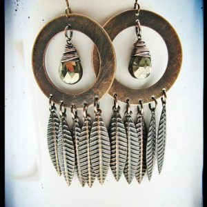 Shop Pyrite Earrings! Extra Large Antique Copper Hoop, Pyrite and Feather Fringe Earrings | Natural genuine Pyrite earrings. Buy crystal jewelry, handmade handcrafted artisan jewelry for women.  Unique handmade gift ideas. #jewelry #beadedearrings #beadedjewelry #gift #shopping #handmadejewelry #fashion #style #product #earrings #affiliate #ad