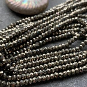 Shop Pyrite Faceted Beads! Natural Gold Pyrite Faceted small spacer Rondelle Beads /  2-3 mm / Choose Quantity | Natural genuine faceted Pyrite beads for beading and jewelry making.  #jewelry #beads #beadedjewelry #diyjewelry #jewelrymaking #beadstore #beading #affiliate #ad
