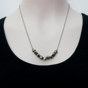 Pyrite Necklace / Geometric Necklace / Faceted Pyrite / Bar Necklace /  Pyrite Jewelry | Natural genuine Pyrite necklaces. Buy crystal jewelry, handmade handcrafted artisan jewelry for women.  Unique handmade gift ideas. #jewelry #beadednecklaces #beadedjewelry #gift #shopping #handmadejewelry #fashion #style #product #necklaces #affiliate #ad