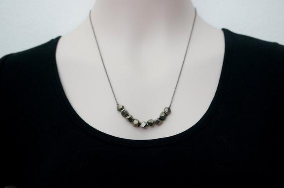 Pyrite Necklace / Geometric Necklace / Faceted Pyrite / Bar Necklace /  Pyrite Jewelry / Mothers Day Gift
