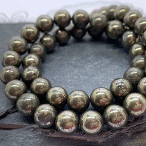 Shop Pyrite Round Beads! Natural Gold Pyrite Round Beads 8mm | Natural genuine round Pyrite beads for beading and jewelry making.  #jewelry #beads #beadedjewelry #diyjewelry #jewelrymaking #beadstore #beading #affiliate #ad