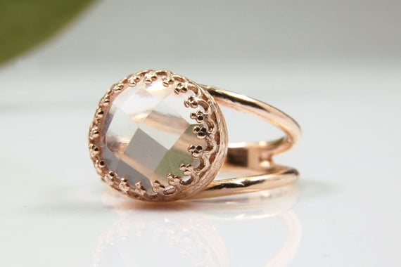 Crystal Quartz Ring,clear Quartz Ring,rose Gold Ring,faceted Ring,delicate Crystal Ring,everyday Ring,pink Gold Ring