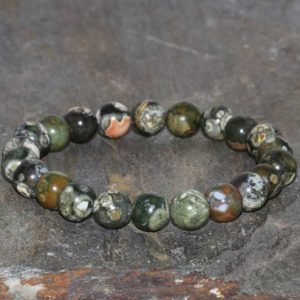 Shop Rainforest Jasper Jewelry! 8mm Rhyolite Bracelet Gemstone Bracelet, Wrist Mala Beads, Men Mala Bracelet, Rainforest Jasper Bracelet, Beaded Bracelet, Green Bracelet | Natural genuine Rainforest Jasper jewelry. Buy crystal jewelry, handmade handcrafted artisan jewelry for women.  Unique handmade gift ideas. #jewelry #beadedjewelry #beadedjewelry #gift #shopping #handmadejewelry #fashion #style #product #jewelry #affiliate #ad