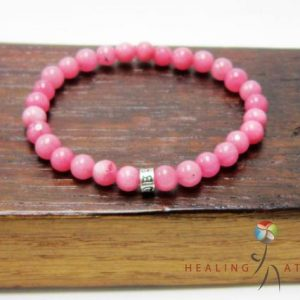 Shop Rhodochrosite Bracelets! Rhodochrosite 925 Om Mani Padme Mantra Mala Bracelet Heart Chakra Bracelet Balance Pink Mala Love Rhodochrosite Bracelet Yoga Om Meditation | Natural genuine Rhodochrosite bracelets. Buy crystal jewelry, handmade handcrafted artisan jewelry for women.  Unique handmade gift ideas. #jewelry #beadedbracelets #beadedjewelry #gift #shopping #handmadejewelry #fashion #style #product #bracelets #affiliate #ad