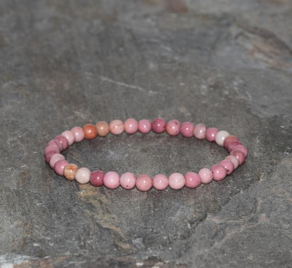 Rhodonite Beaded Bracelet Handmade 4mm Pink Rhodonite Beaded Gemstone Bracelet Stacking Bracelet Unisex Bracelet Gift Bracelet Pink Jewelry