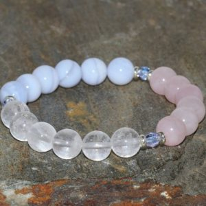 Shop Rose Quartz Bracelets! 8mm Natural Rose Quartz, Milky Clear Quartz and Blue Lace Agate Bracelet, Blue Chalcedony Jewelry, Czech Crystals, Yoga Bracelet, Mala Beads | Natural genuine Rose Quartz bracelets. Buy crystal jewelry, handmade handcrafted artisan jewelry for women.  Unique handmade gift ideas. #jewelry #beadedbracelets #beadedjewelry #gift #shopping #handmadejewelry #fashion #style #product #bracelets #affiliate #ad