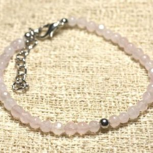 Shop Rose Quartz Bracelets! 925 Sterling Silver And Semi Precious 4mm Faceted Rose Quartz Bracelet | Natural genuine Rose Quartz bracelets. Buy crystal jewelry, handmade handcrafted artisan jewelry for women.  Unique handmade gift ideas. #jewelry #beadedbracelets #beadedjewelry #gift #shopping #handmadejewelry #fashion #style #product #bracelets #affiliate #ad