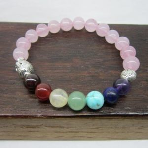 Rose Quartz Chakra Bracelet Rose Quartz Chakra Gemstone Bracelet Yoga Chakra Bracelet Rose Quartz Chakra Meditation Bracelet Mala Rose Quart | Natural genuine Gemstone bracelets. Buy crystal jewelry, handmade handcrafted artisan jewelry for women.  Unique handmade gift ideas. #jewelry #beadedbracelets #beadedjewelry #gift #shopping #handmadejewelry #fashion #style #product #bracelets #affiliate #ad