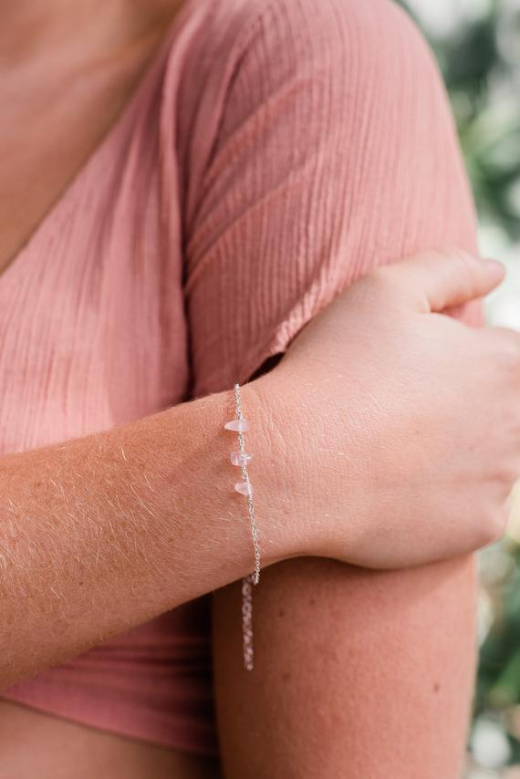 Rose Quartz Bracelet. Delicate Bracelet. Healing Crystal. Bridesmaid Gift For Her. Rose Quartz Womens Gift. Bead Bracelet Jewelry Gift.