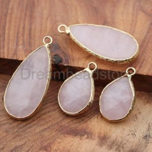 Shop Rose Quartz Bead Shapes! 1-20 Pcs Natural Rose Quartz Teardrop Pendant For Necklace Making Natural Gemstone Large / Small Tear Drop Stone Pendant | Natural genuine other-shape Rose Quartz beads for beading and jewelry making.  #jewelry #beads #beadedjewelry #diyjewelry #jewelrymaking #beadstore #beading #affiliate #ad
