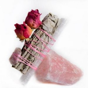 Shop Rose Quartz Points & Wands! White Sage And Rose Smudge Stick With Rose Quartz | Natural genuine stones & crystals in various shapes & sizes. Buy raw cut, tumbled, or polished gemstones for making jewelry or crystal healing energy vibration raising reiki stones. #crystals #gemstones #crystalhealing #crystalsandgemstones #energyhealing #affiliate #ad