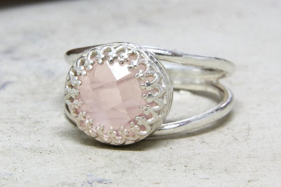 Love Pink Ring,rose Quartz Ring,silver Ring,silver Quartz Jewelry,delicate Ring,bridesmaid Gifts,pink Quartz Ring