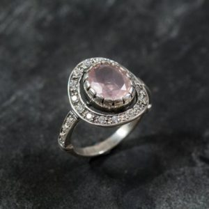 Rose Quartz Ring, Vintage Ring, Love Ring, Antique Ring, Pink Ring, Solid Silver Ring, Vintage Rings, Pure Silver, Diamond Shape, Pink Stone | Natural genuine Rose Quartz rings, simple unique handcrafted gemstone rings. #rings #jewelry #shopping #gift #handmade #fashion #style #affiliate #ad