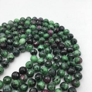 "Shop Ruby Zoisite Faceted Beads! Natural Ruby Zoisite Faceted Round Beads 2mm 3mm 4mm 5mm 6mm 8mm 15.5"" Strand 