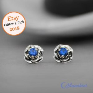 Shop Sapphire Earrings! Blue Sapphire Flower Earrings, Sterling Silver Sapphire Stud Earrings | Moonkist Designs | Natural genuine Sapphire earrings. Buy crystal jewelry, handmade handcrafted artisan jewelry for women.  Unique handmade gift ideas. #jewelry #beadedearrings #beadedjewelry #gift #shopping #handmadejewelry #fashion #style #product #earrings #affiliate #ad