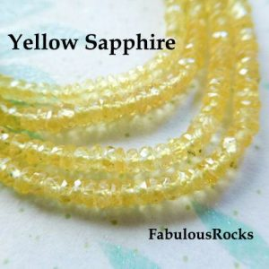 Shop Sapphire Faceted Beads! 10-50 Pcs / Sapphire Rondelles Gemstone Beads, Songea Sapphire, Aaa, 2.5-3 Mm, Faceted Gems, September Birthstone, Canary Yellow Solo Tr S | Natural genuine faceted Sapphire beads for beading and jewelry making.  #jewelry #beads #beadedjewelry #diyjewelry #jewelrymaking #beadstore #beading #affiliate #ad