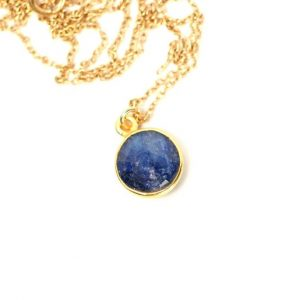 Shop Sapphire Jewelry! Blue Sapphire Necklace – Crystal Necklace – Sapphire – September Birthstone – A Gold Bezel Set Sapphire On A 14k Gold Vermeil Chain | Natural genuine Sapphire jewelry. Buy crystal jewelry, handmade handcrafted artisan jewelry for women.  Unique handmade gift ideas. #jewelry #beadedjewelry #beadedjewelry #gift #shopping #handmadejewelry #fashion #style #product #jewelry #affiliate #ad