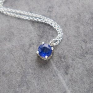 Shop Sapphire Pendants! Dainty Blue Sapphire Solitaire Pendant Necklace, Gemstone Jewelry, Birthday Gifts For Women | Natural genuine Sapphire pendants. Buy crystal jewelry, handmade handcrafted artisan jewelry for women.  Unique handmade gift ideas. #jewelry #beadedpendants #beadedjewelry #gift #shopping #handmadejewelry #fashion #style #product #pendants #affiliate #ad