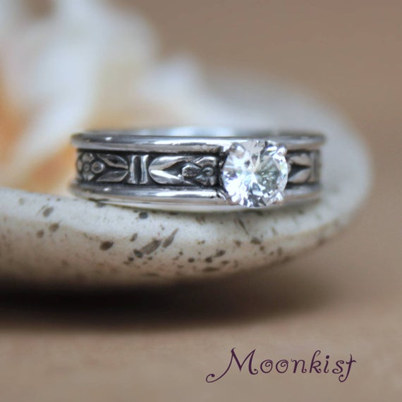 Forget Me Not Engagement Ring, Sterling Silver Moissanite Ring, Art Deco Flower Ring | Moonkist Designs