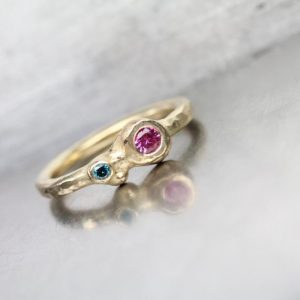 Pink Sapphire Teal Blue Diamond Engagement Ring 14K Yellow Gold Organic Double Gemstone Romantic Boho Low Profile Bridal Band – Sugar Orbs | Natural genuine Array rings, simple unique alternative gemstone engagement rings. #rings #jewelry #bridal #wedding #jewelryaccessories #engagementrings #weddingideas #affiliate #ad
