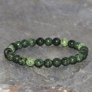 Shop Serpentine Jewelry! Russian Serpentine Bracelet 6mm Green Bead Bracelet Healing Stone Bracelet Mens Bracelet Women Bracelet Gemstone Jewelry Yoga Bracelet Gift | Natural genuine Serpentine jewelry. Buy handcrafted artisan men's jewelry, gifts for men.  Unique handmade mens fashion accessories. #jewelry #beadedjewelry #beadedjewelry #shopping #gift #handmadejewelry #jewelry #affiliate #ad