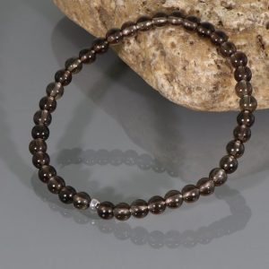 Smoky Quartz Bracelet, Beaded Bracelets, Crystal Bracelet, Smoky Quartz, Delicate Bracelet, Layering Jewelry, 4mm Smoky Quartz Bracelet | Natural genuine Gemstone bracelets. Buy crystal jewelry, handmade handcrafted artisan jewelry for women.  Unique handmade gift ideas. #jewelry #beadedbracelets #beadedjewelry #gift #shopping #handmadejewelry #fashion #style #product #bracelets #affiliate #ad