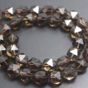 Smoky Quartz Faceted Beads,Natural Faceted Smoky Crystal Quartz Beads,15 inches one starand | Natural genuine beads Smoky Quartz beads for beading and jewelry making.  #jewelry #beads #beadedjewelry #diyjewelry #jewelrymaking #beadstore #beading #affiliate #ad