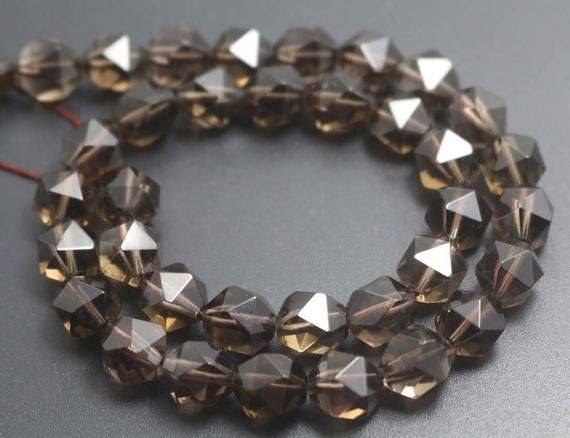 Smoky Quartz Faceted Beads,natural Faceted Smoky Crystal Quartz Beads,15 Inches One Starand