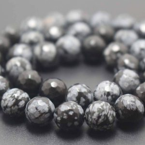 128 Faceted Black Snowflake Obsidian Round Beads,6mm/8mm/10mm/12mm Gemstone Beads Supply,15 inches one starand | Natural genuine faceted Snowflake Obsidian beads for beading and jewelry making.  #jewelry #beads #beadedjewelry #diyjewelry #jewelrymaking #beadstore #beading #affiliate #ad