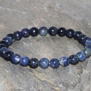 Sodalite Beaded Bracelet, 6mm Dark Sodalite Jewelry, Throat Chakra, Meditation Mala, Gemstone Bracelet, EMF Protection-Self Confidence | Natural genuine Gemstone bracelets. Buy crystal jewelry, handmade handcrafted artisan jewelry for women.  Unique handmade gift ideas. #jewelry #beadedbracelets #beadedjewelry #gift #shopping #handmadejewelry #fashion #style #product #bracelets #affiliate #ad