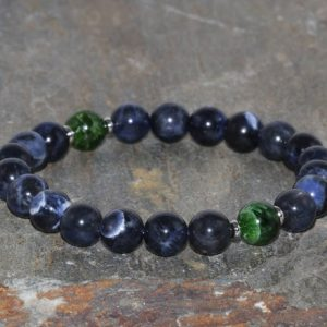 Shop Sodalite Bracelets! Chrome Diopside and African Sodalite Handmade 8mm Grade AAA Natural Dark Blue Sodalite Beaded Gemstone Bracelet Stack Bracelet Gift Bracelet | Natural genuine Sodalite bracelets. Buy crystal jewelry, handmade handcrafted artisan jewelry for women.  Unique handmade gift ideas. #jewelry #beadedbracelets #beadedjewelry #gift #shopping #handmadejewelry #fashion #style #product #bracelets #affiliate #ad