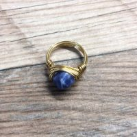 Sodalite Ring – 14k Gold Filled, Or Sterling Silver, Faceted Wire Wrapped Gemstone Ring | Natural genuine Gemstone jewelry. Buy crystal jewelry, handmade handcrafted artisan jewelry for women.  Unique handmade gift ideas. #jewelry #beadedjewelry #beadedjewelry #gift #shopping #handmadejewelry #fashion #style #product #jewelry #affiliate #ad