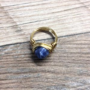 Shop Sodalite Rings! Sodalite Ring – 14k Gold Filled, Or Sterling Silver, Faceted Wire Wrapped Gemstone Ring | Natural genuine Sodalite rings, simple unique handcrafted gemstone rings. #rings #jewelry #shopping #gift #handmade #fashion #style #affiliate #ad