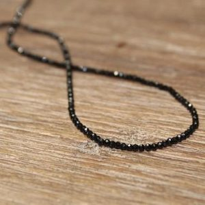 Dainty Black Spinel Necklace, Black Spinel Jewelry, Minimalist, Beaded, Stacking, Layering Necklace | Natural genuine Spinel necklaces. Buy crystal jewelry, handmade handcrafted artisan jewelry for women.  Unique handmade gift ideas. #jewelry #beadednecklaces #beadedjewelry #gift #shopping #handmadejewelry #fashion #style #product #necklaces #affiliate #ad