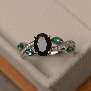Shop Spinel Jewelry! Black spinel ring, sterling silver, black ring, engagement ring, natural black gemstone ring | Natural genuine Spinel jewelry. Buy handcrafted artisan wedding jewelry.  Unique handmade bridal jewelry gift ideas. #jewelry #beadedjewelry #gift #crystaljewelry #shopping #handmadejewelry #wedding #bridal #jewelry #affiliate #ad