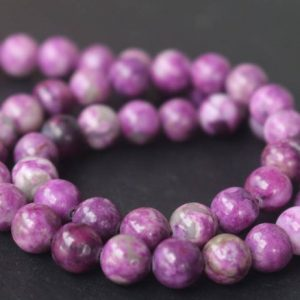 Dyed Sugilite Smooth And Round Beads, 6mm / 8mm / 10mm / 12mm Beads Supply, 15 Inches One Starand | Natural genuine round Sugilite beads for beading and jewelry making.  #jewelry #beads #beadedjewelry #diyjewelry #jewelrymaking #beadstore #beading #affiliate #ad