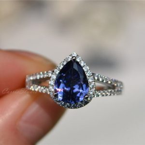 Shop Tanzanite Jewelry! Tanzanite Ring Pear Tanzanite Engagement Ring Wedding Ring Anniversary Ring Promise Ring | Natural genuine Tanzanite jewelry. Buy handcrafted artisan wedding jewelry.  Unique handmade bridal jewelry gift ideas. #jewelry #beadedjewelry #gift #crystaljewelry #shopping #handmadejewelry #wedding #bridal #jewelry #affiliate #ad