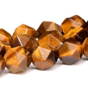 Shop Tiger Eye Faceted Beads! Yellow Tiger Eye Beads Star Cut Faceted Grade AA Genuine Natural Gemstone Loose Beads 7-8MM 9-10MM Bulk Lot Options | Natural genuine faceted Tiger Eye beads for beading and jewelry making.  #jewelry #beads #beadedjewelry #diyjewelry #jewelrymaking #beadstore #beading #affiliate #ad