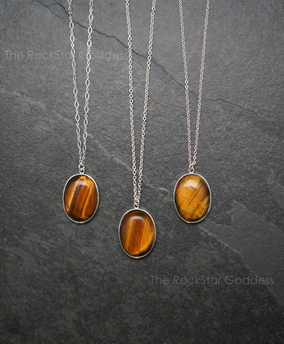 4th Of July Sale / Silver Tiger Eye Necklace / Tiger Eye Pendant / Tiger Eye Jewelry / Stone Of Protection / Tiger Eye / Sterling Silver Cha