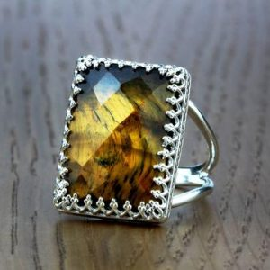 Shop Tiger Eye Jewelry! Tiger Eye Ring · Silver Ring · Rectangle Ring · Gemstone Ring · Double Band Ring · Prong Ring · Cocktail Ring | Natural genuine Tiger Eye jewelry. Buy crystal jewelry, handmade handcrafted artisan jewelry for women.  Unique handmade gift ideas. #jewelry #beadedjewelry #beadedjewelry #gift #shopping #handmadejewelry #fashion #style #product #jewelry #affiliate #ad