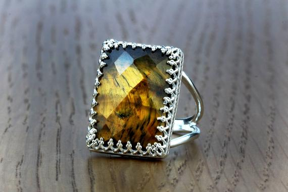Tiger Eye Ring · Silver Ring · Rectangle Ring · Gemstone Ring · Double Band Ring · Prong Ring · Silver Cocktail Ring