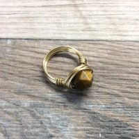 Tigers Eye Ring – 14k Gold Filled Or Sterling Silver Faceted Wire Wrapped Gemstone Ring | Natural genuine Gemstone jewelry. Buy crystal jewelry, handmade handcrafted artisan jewelry for women.  Unique handmade gift ideas. #jewelry #beadedjewelry #beadedjewelry #gift #shopping #handmadejewelry #fashion #style #product #jewelry #affiliate #ad