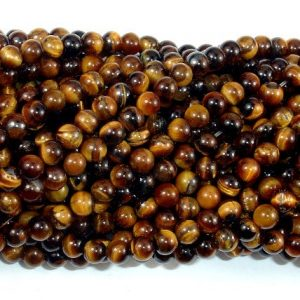 Shop Tiger Eye Beads! Tiger Eye, Round, 4mm (4.6 mm), 15.5 Inch, Full strand, Approx 90-93 beads, Hole 0.8 mm (426054012) | Natural genuine beads Tiger Eye beads for beading and jewelry making.  #jewelry #beads #beadedjewelry #diyjewelry #jewelrymaking #beadstore #beading #affiliate #ad
