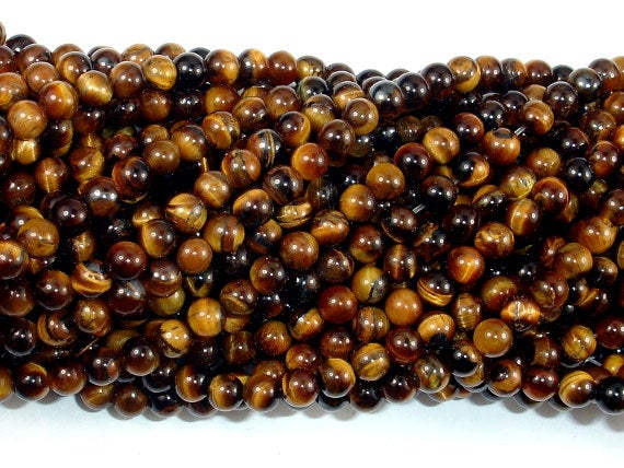 Tiger Eye, Round, 4mm (4.6 Mm), 15.5 Inch, Full Strand, Approx 90-93 Beads, Hole 0.8 Mm (426054012)