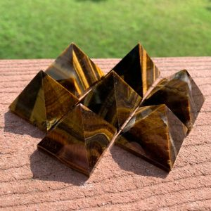 "1 Tiger's Eye Pyramid 1.3"" – Natural Crystal – Healing Crystal – Meditation Stone – Collectible – Display / decor – Crystal Grid Stone 