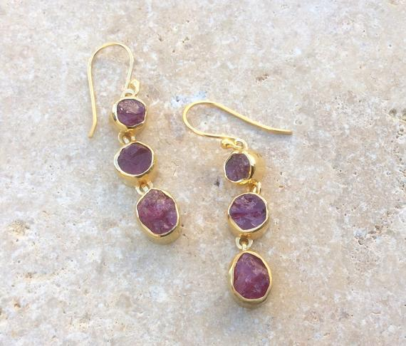 Pink Tourmaline Gold Vermeil Drops, Raw Gemstone Earrings, Gift For Wife Or Girlfriend